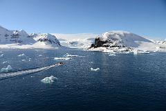 Zodiac Heading For Cuverville Island From Quark Expeditions Antarctica Cruise Ship